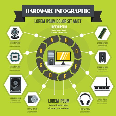 Hardware infographic concept, flat style Illustration