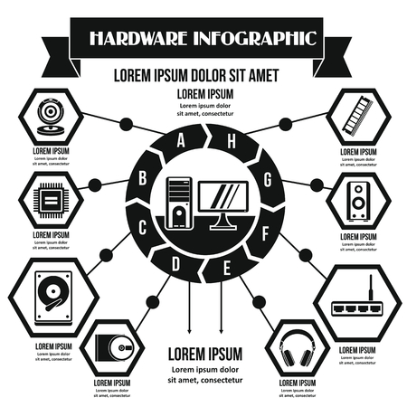 Hardware infographic concept, simple style