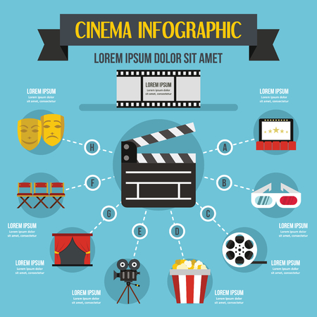 theatre masks: Cinema infographic concept, flat style