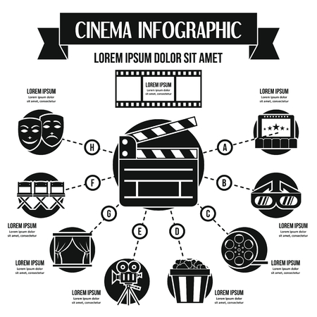 Cinema infographic concept, simple style