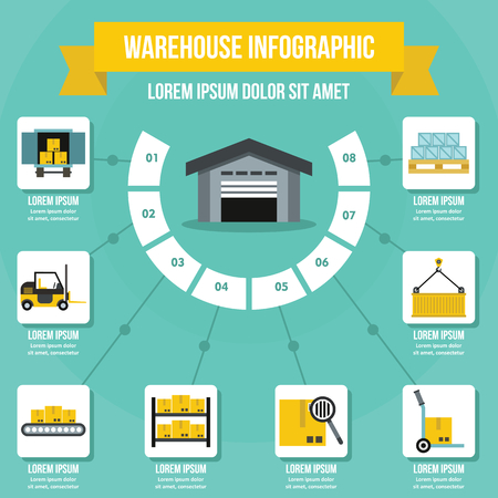 Warehouse infographic concept, flat style