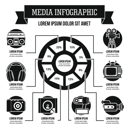 electronic music: Media infographic concept, simple style
