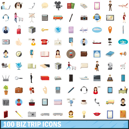 the fastest: 100 biz trip icons set, cartoon style Illustration