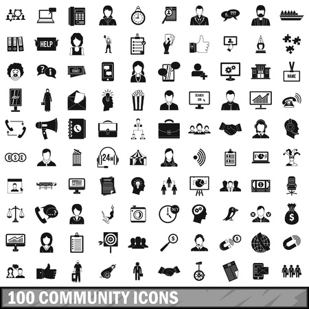 100 community icons set, simple style