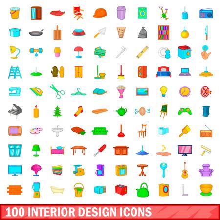 bathroom design: 100 interior design icons set, cartoon style Illustration
