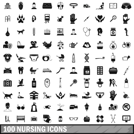swaddling clothes: 100 nursing icons set, simple style