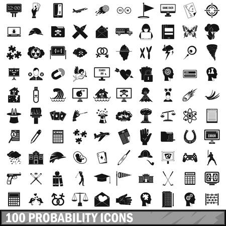 choise: 100 probability icons set, simple style Illustration