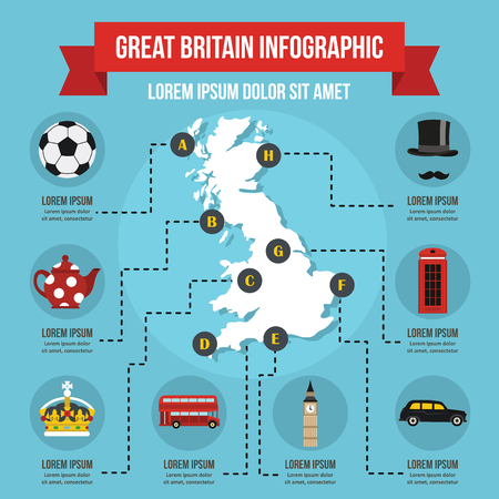 bigben: Great Britain infographic concept, flat style Illustration