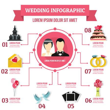 Wedding infographic concept, flat style Фото со стока - 82021156