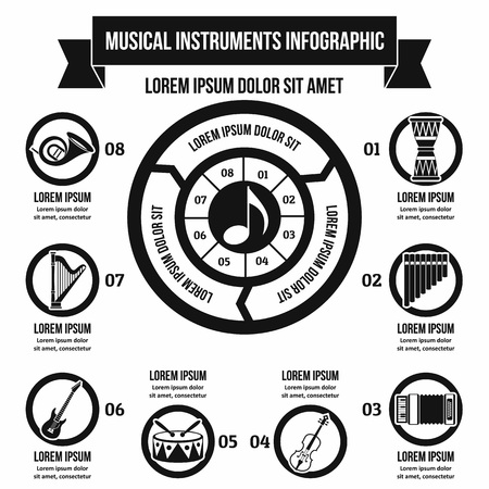 musical score: Music instrument infographic concept, simple style