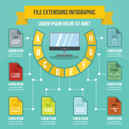 File extensions infographic concept, flat style Illustration