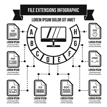 xls: File extensions infographic concept, simple style