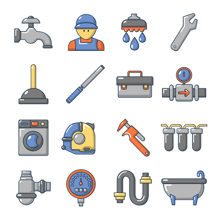 Plumber symbols icons set. Cartoon illustration of 16 plumber symbols vector icons for web