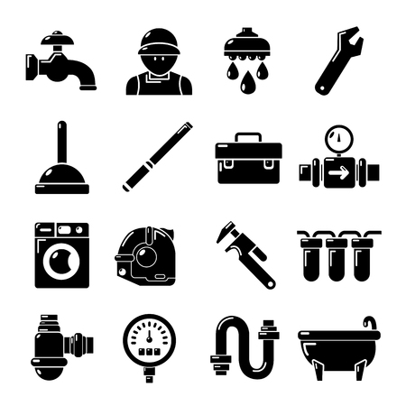 boiler: Plumber symbols icons set. Simple illustration of 16 plumber symbols vector icons for web Illustration