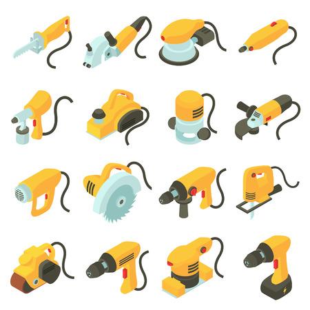 電動工具のアイコンを設定します。16 電動工具の等尺性漫画イラスト ベクター web 用アイコン