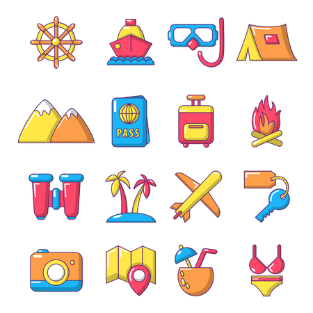 foto carnet: Travel summer icons set. Cartoon illustration of 16 building vehicles vector icons for web