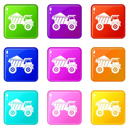 sand quarry: Dump truck with sand icons 9 set