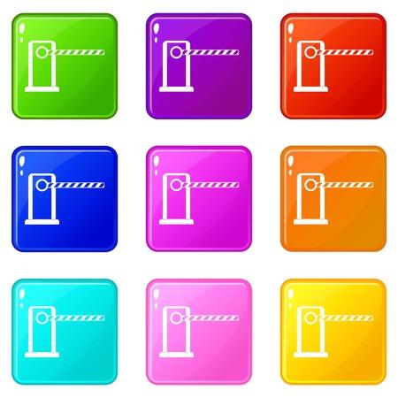 Parking entrance icons 9 set