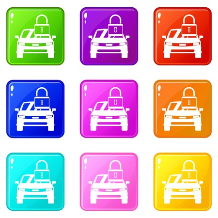 car speed: Car with padlock icons 9 set