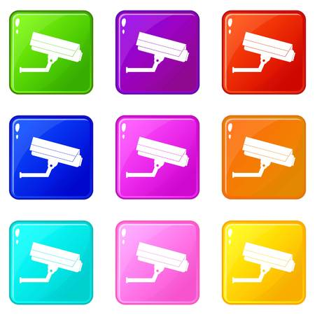 observation: Surveillance camera icons 9 set