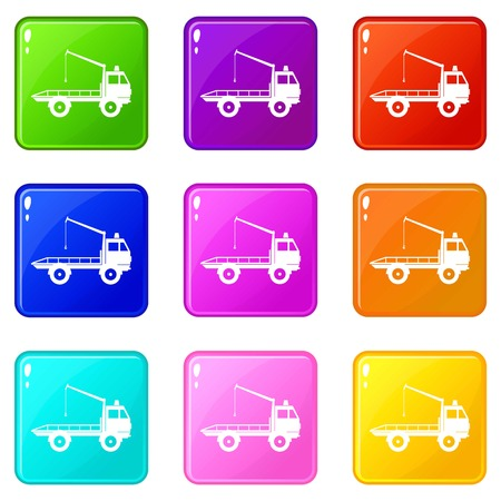 evacuating: Car towing truck icons 9 set