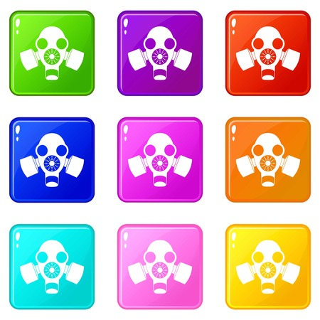 respiratory protection: Black gas mask icons 9 set