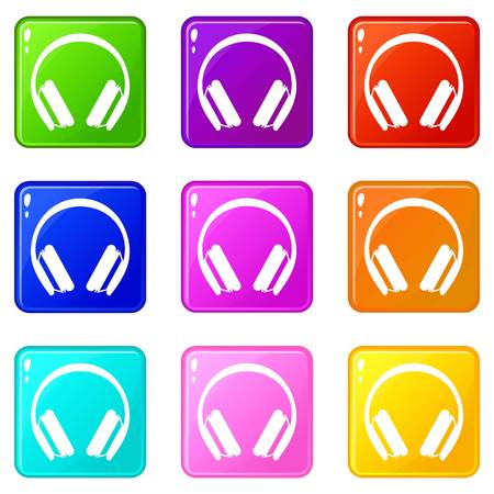 hearing protection: Protective headphones icons 9 set
