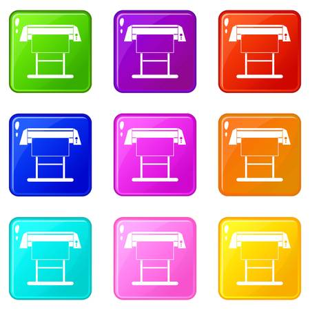 Large format inkjet printer icons 9 set