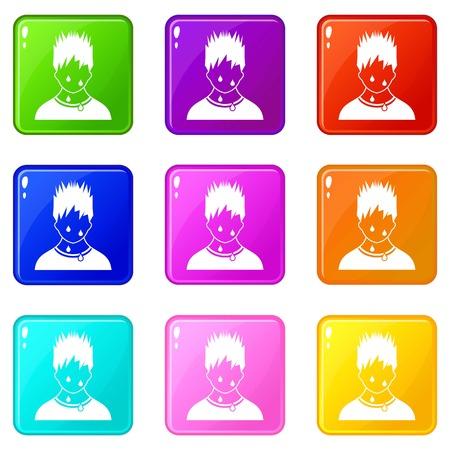 wipe: Sweaty man icons 9 set