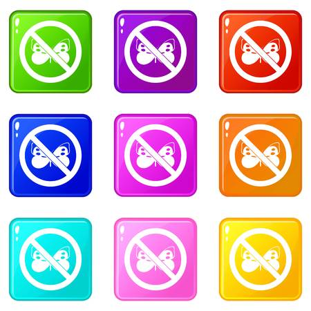 itch: No butterfly sign icons 9 set Illustration