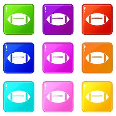 Rugby ball icons 9 set