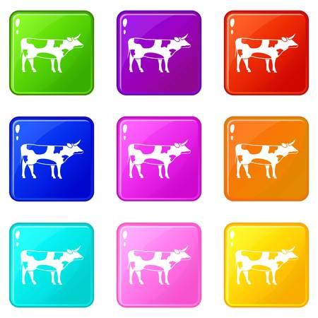 Switzerland cow icons 9 set