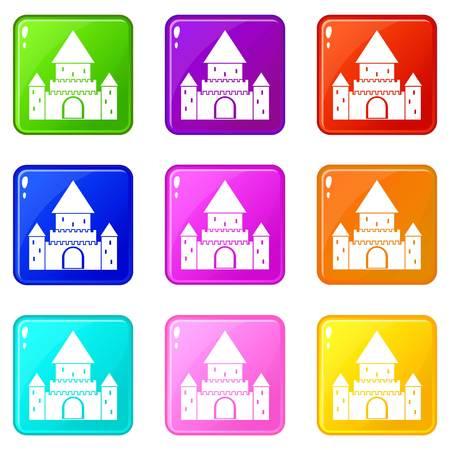 Chillon Castle, Suisse icônes 9 set Banque d'images - 82056392