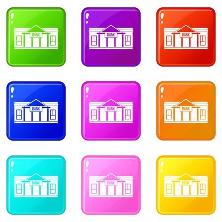 roman column: Bank building icons 9 set Illustration