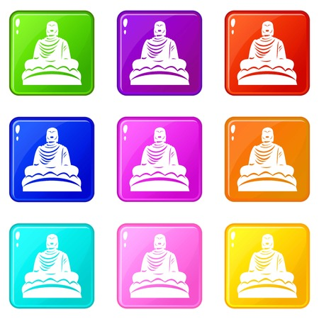 Buddha statue icons 9 set