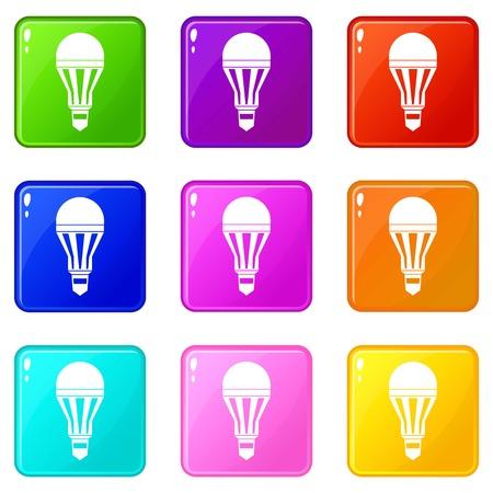 Led bulb icons 9 set Ilustração Vetorial
