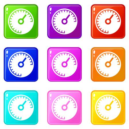 Speedometer icons 9 set Illustration