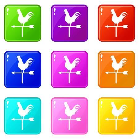 windward: Weather vane with cock icons 9 set