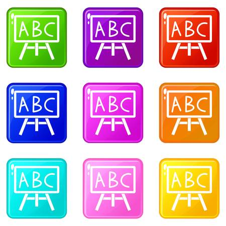 Chalkboard with the leters ABC icons 9 set