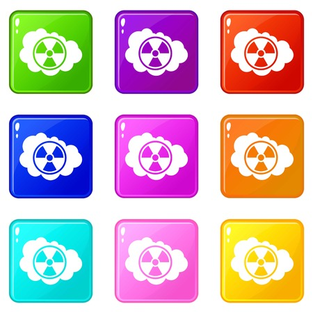 Cloud and radioactive sign icons 9 set