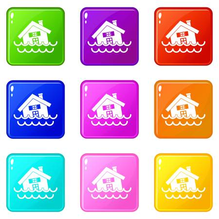 House sinking in a water icons 9 set Illustration