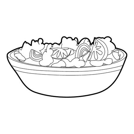 Fruit salat icon, outline style Illustration