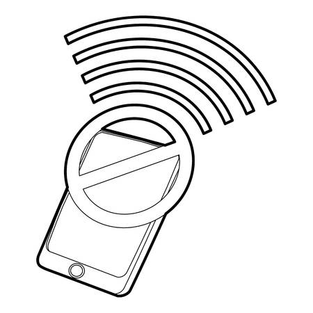 computer simulation: Gadget no wi-fi icon, outline style