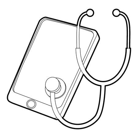 crack: Gadget in diagnostic process icon, outline style