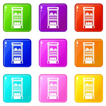 refrigerator: Products in the supermarket refrigerator icons Illustration