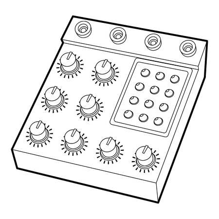 electronic music: Retro studio equalizer icon, outline style