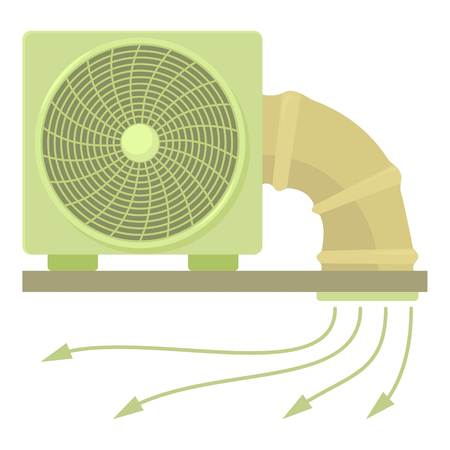 System fan and pipe icon, cartoon style