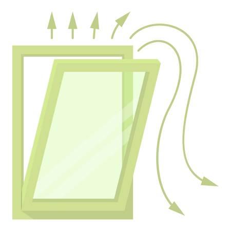 Window ventilation icon, cartoon style