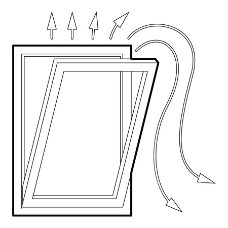 cold room: Window ventilation icon, outline style Illustration