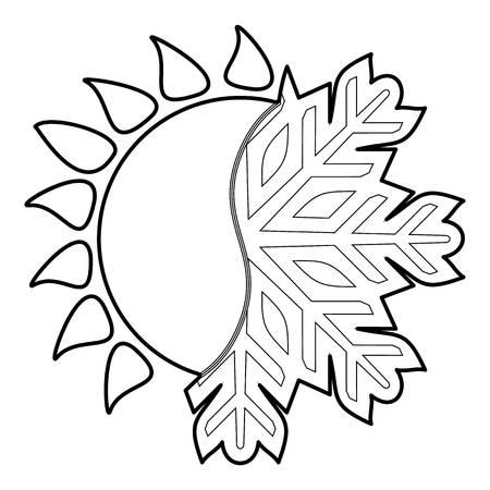 Hot cold icon, outline style Vektoros illusztráció